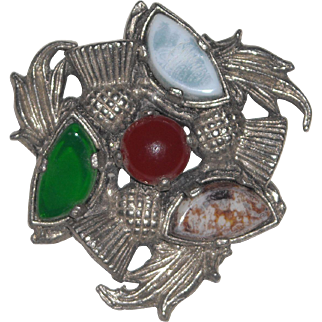 Vintage Scottish Agate Style Brooch