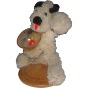 Chenille Terrier Dog with Drink Glass