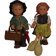 "Pair of 11"" Vinyl Hummel Dolls"
