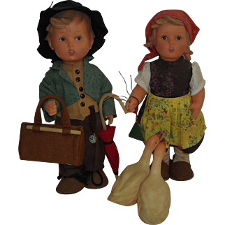 "Pair of 11"" Vinyl Hummel Dolls"