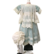 Exceptional Antique Girl's Dress and Lace Bonnet