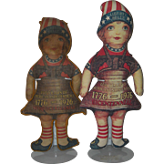 Two Printed Cloth Liberty Belle Dolls