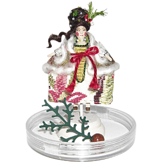 Miniature Wooden Doll - Holiday Lady