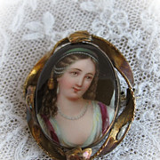 Hand Painted Berlin Porcelain Brooch 9 Karat