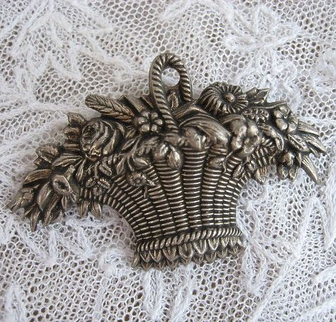 Victorian Silver Repousse Brooch