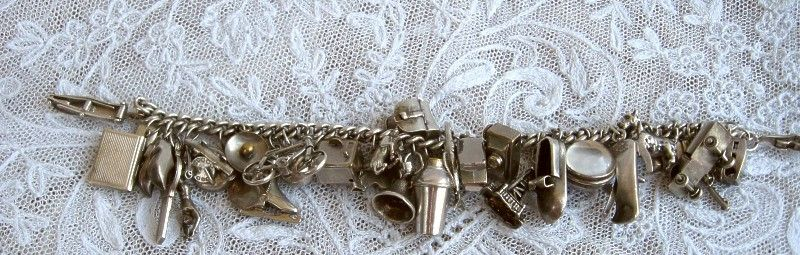 1940s Vintage Silver Charm Bracelet Complete with 32 Original Charms