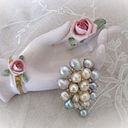 Retro 1950s Diamond and Pearl Sea Spray Brooch Pendant for Gumps