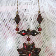 Bohemian Garnet Necklace with Quilt Cut Stones