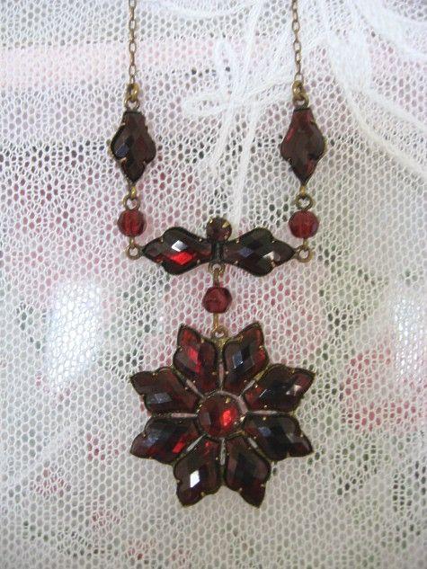 Bohemian Garnet Necklace with Quilt Cut Stones