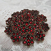 Gorgeous Large Czech Garnet Brooch with Rose Cut Garnets