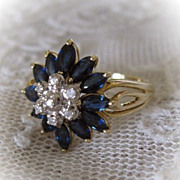 Sapphire and Diamond Ring in Starburst Style