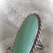 Varicite Variquoise Stone Ring Set in Sterling Silver