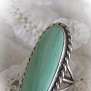 Varicite Variquoise Stone Ring Set in Sterling Silver