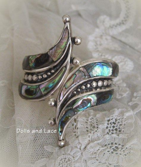Vintage F. Balladares B. Sterling Silver Abalone Hinged Clamper Bracelet
