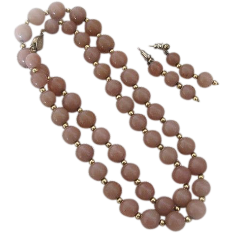 Circa 1970s Rose Colored Peking Glass Necklace Clasp Marked Silver
