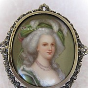 Hand Painted Portrait KPM Marie Antoinette Sterling Silver Mirror 1890s