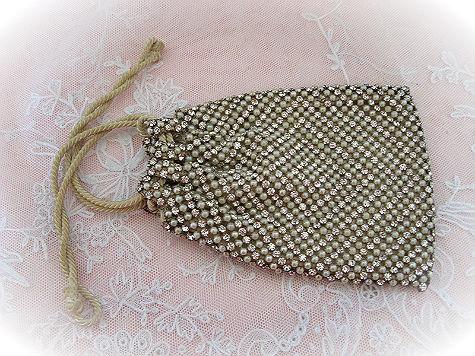 Beautiful 1920s Rhinestone and Pearl Drawstring Bag or Purse