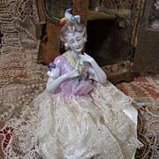 Fabulous Antique Sedan Chair or Vitrine with Half Doll