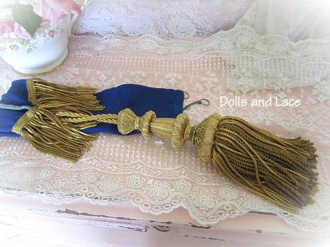 Fabulous French 1850s Gold Bullion Tassel with Original Sapphire Blue Sheath or Cover