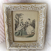 Original Petite French Print Framed in Original Gilded Elaborate Frame