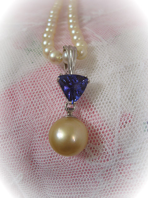 14 Karat Gold Pendant with Pearls and Tanzanite Necklace