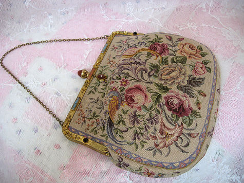 Incredible Antique Petite Point PUrse with Jeweled Accents Birds of Paradise