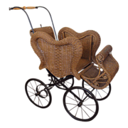 Antique Victorian Wicker Baby Buggy Carriage
