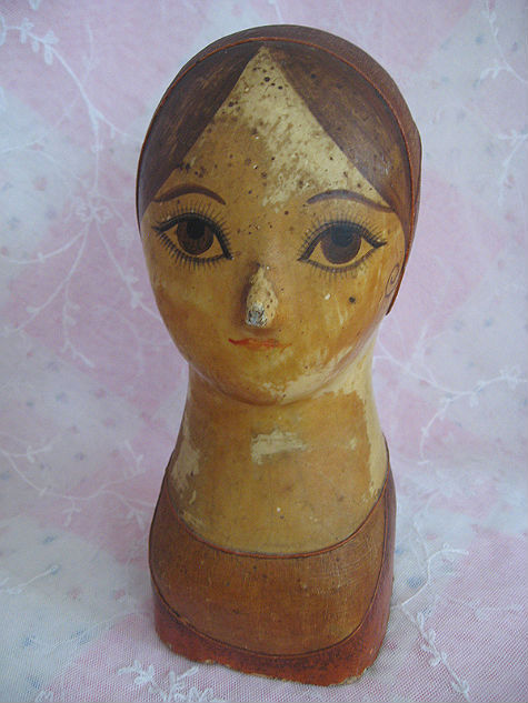 Fabulous French Late 1700s Early 1800s Papier Mache and Linen Petite Mannequin or Hat Display