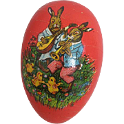 German Papier Mache Egg Candy Container Bunnies