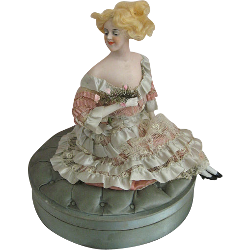 Fabulous Galluba and Hoffman Fashion Doll Candy Box with French Label Circa 1910 All Original