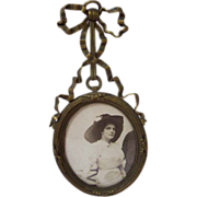 Circa 1900 Brass Frame with Ribbon and Bow Original Photo Reserved for Pamela
