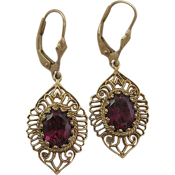 Victorian Revival 1940s Era 14 Karat Yellow Bold Filigree Earrings with Vivid Amethyst Stones
