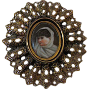 Rare and Unusual Painted Antique Flip Brooch