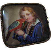 1850s Hand Painted Porcelain Brooch Portrait with Parrot