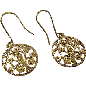 Lovely Filigree Gold Earrings Vintage Italy