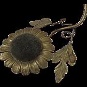 Italian Gilt Brass Pin Cushion Sunflower Shape