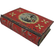 """1830s Tin """"Book"""" Sewing Notions Box"""