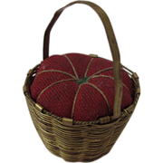 Early Victorian Sewing Basket Pin Cushion