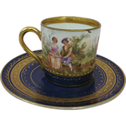 Antique Mini Cup and Saucer Hand Painted