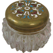 Miniature French Powder Jar with Powder Puff