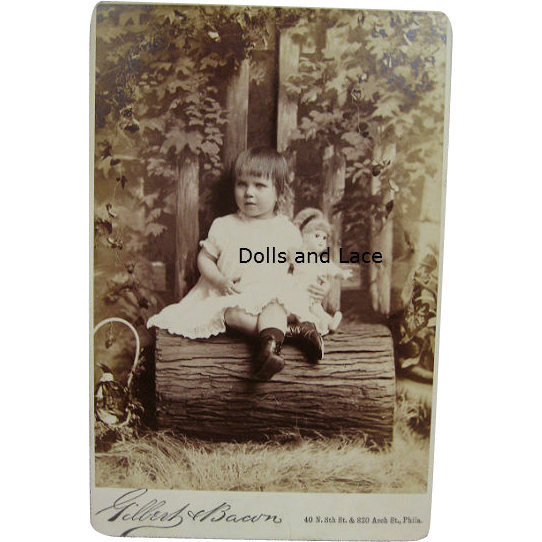 Genuine Antique Cabinet Card Antique Photo Girl with Jumeau Bebe