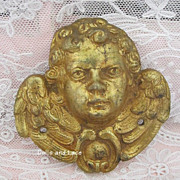 Vintage 19th Century Gilt Brass Cherub Putti Angel Ornament  Mount