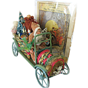 Fabulous Vintage Father Christmas Santa in Colorful Wicker Car Rare German