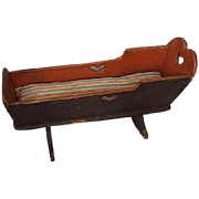 Unusual Long Wooden Rocking Cradle  Early Georgian Period for Georgian Wooden Doll