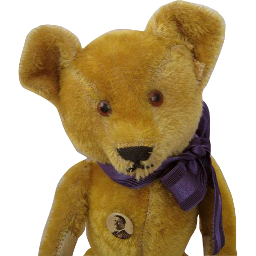 Sweet 1920s Vintage Mohair Teddy Bear Adorable Size with Teddy Roosevelt Pin