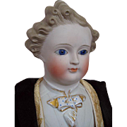 Rare Glass Eyed Parian Gentleman Beautiful Face Wonderful Clothes