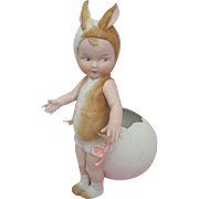 Extremely Rare All Bisque Candy Container Heubach Child Dressed as Bunny with Cracked Egg