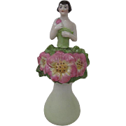 Fabulous Vintage Porcelain Perfume Bottle Flowers with Girl Peeking Out of Bouquet Germany