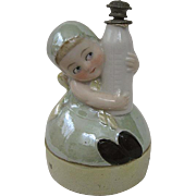 Rare German Porcelain Iridescent Perfume or Powder Box Marked Germany Toddler or Child with Baby Bottle Silver Lid