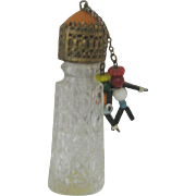 Vintage Ornate Perfume Bottle Beaded Dangling Dolls